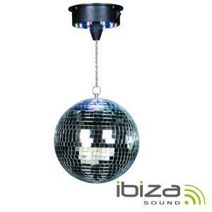 Bola De Espelhos 30cm C/ Motor 18 LEDS RGBW IBIZA - (DISCO1-30)