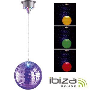 Bola De Espelhos 20cm C/ Motor 17 LEDS RGB IBIZA - (DISCO2-20LED)
