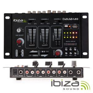 Mesa De Mistura 4 Canais 7 Entradas USB IBIZA - (DJ21USB-MKII)