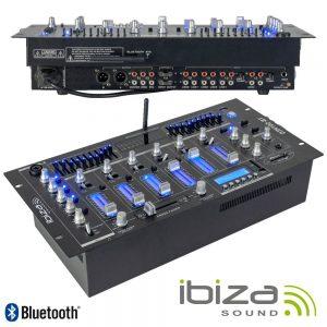 """Mesa De Mistura 19"""" 5u 6 Canais Com USB-BT Preta IBIZA - (DJM102-BT)"""