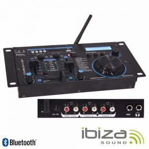 "Mesa De Mistura 19"" 2 Canais USB Bluetooth Preta IBIZA - (DJM160FX-BT)"