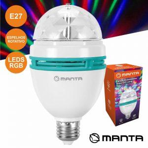 Lâmpada Rotativa 3 LEDS 1W RGB E27 MANTA - (DLB001)