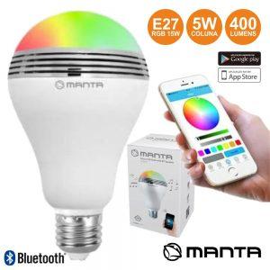 Lâmpada RGB E27 LED BT/Coluna/App 15W MANTA - (DLB002)