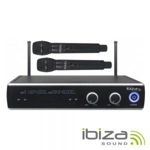 Central Microfone S/ Fios 2 Canais UHF 863.9/864.9mhz IBIZA - (DR20UHF-HH)