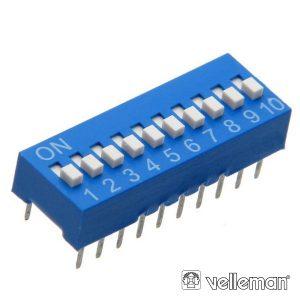 Interruptor Dip 10 Posições VELLEMAN - (DS-10)