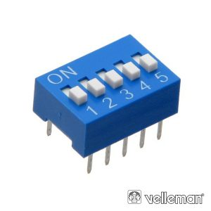 Interruptor Dip 5 Posições VELLEMAN - (DS-5)
