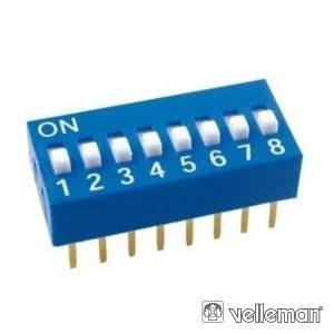Interruptor Dip 8 Posições VELLEMAN - (DS-8)
