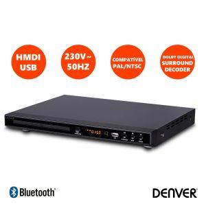 Leitor Dvd C/ HDMI Cabo USB Comando DENVER - (DVH-1245)