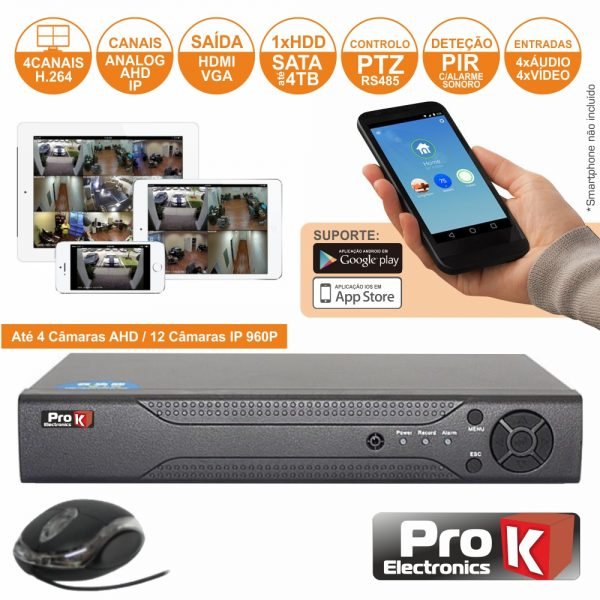 Vídeo-Gravador Digital 4 Canais Analog/Ahd/Ip Ethernet PROK - (DVR04RK)