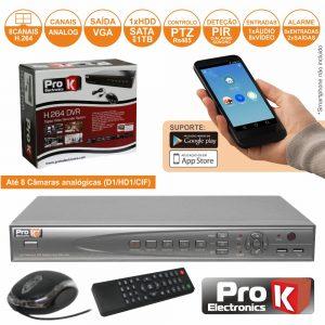 Vídeo-Gravador Digital 8 Canais Quad H264 Ethernet PROK - (DVR08AK)