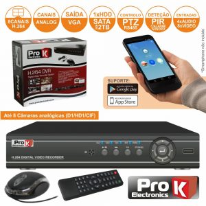 Vídeo-Gravador Digital 8 Canais Quad H264 Ethernet PROK - (DVR08DK)