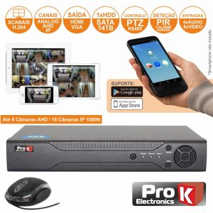 Vídeo-Gravador Digital 8 Canais Analog/Ahd/Ip Ethernet PROK - (DVR08RK)