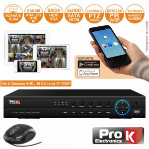 Vídeo-Gravador Digital 8 Canais Analog/Ahd/Ip Ethernet PROK - (DVR08SK)