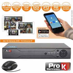 Vídeo-Gravador Digital 16 Canais Analog/Ahd/Ip Ethernet PROK - (DVR16RK)