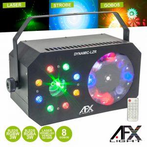 Projetor Luz 8 LEDS 3W RGBW Gobo Strobe Laser AFXLIGHT - (DYNAMIC-LZR)