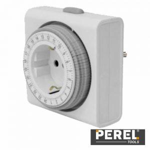 Temporizador Analógico Compacto Ajustável 24h Perel - (E305D4-G)
