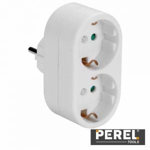 Tomada Elétrica C/ 2 Saídas Branco Perel - (EB2EU-G)
