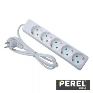 Tomada Elétrica C/ 5 Saídas 1.5m Branco PEREL - (EB5-G)
