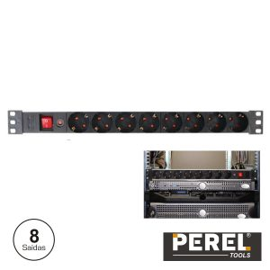 Tomada Elétrica C/ 8 Saídas Interruptor Proteção P/ Bastidor - (EBP08PDU-G)