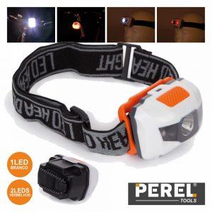 Lanterna De Cabeça 3 LEDS C/ Luz Traseira Perel - (EHL15)