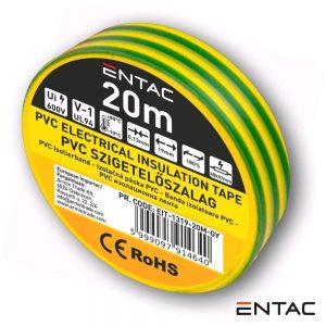 Fita Isoladora Verde/Amarelo 20M ENTAC - (EIT-1319-20M-GY)
