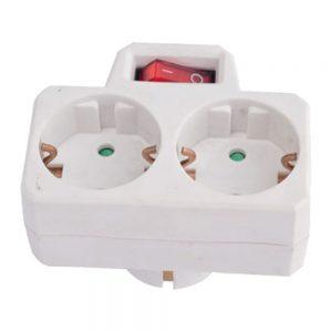 Tomada Elétrica C/ 2 Saídas Interruptor Branco - (ELAD-2SH-SW)