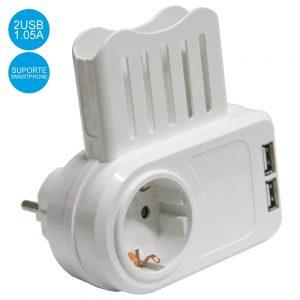 Tomada Elétrica C/ Suporte Telemóvel 1 Saída 2 USB 5v Branco - (ELAD-SH/2XUSB/1)