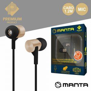 Auscultadores Stereo C/ Mic Dourado Premium MANTA - (EPH9004)