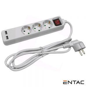 Tomada Elétrica C/ 3 Saídas + 2 USB e Interruptor 1.5m ENTAC - (ESE1.5G3-1.5-USB)