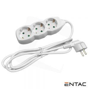 Tomada Elétrica C/ 3 Saídas 1.5M Entac - (ESEG3-1.5)
