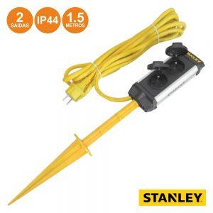 Tomada Elétrica C/ 2 Saídas Estaca Rcd 1.5m IP44 Stanley - (ESTN2SP-G)