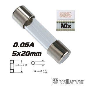 Fusível 5x20 Fusão Rápida 0.06a (10) VELLEMAN - (FF0.06N)