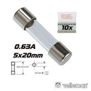 Fusível 5x20 Fusão Rápida 0.63a (10X) VELLEMAN - (FF0.63N)