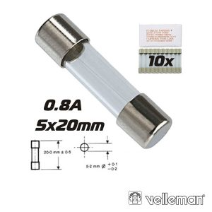 Fusível 5x20 Fusão Rápida 0.8a (10X) VELLEMAN - (FF0.8N)