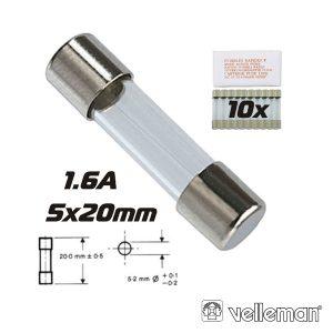 Fusível 5x20 Fusão Rápida 1.6a (10X) VELLEMAN - (FF1.6N)