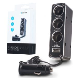 Ficha Adaptadora Isqueiro C/ 3 Saídas E 1 USB FOREVER - (CSS0031USB)