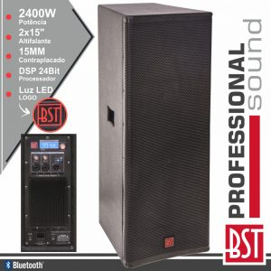 "Coluna Amplificada Pro 2x15"" 2400W 4 Modos BT BST - (FIRST-SA215DSP2)"