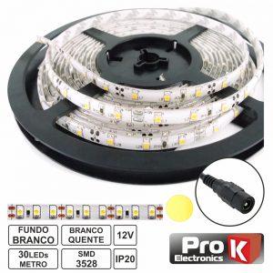 Fita 150 LEDS 3528 Branco Quente 12V 5m PROK - (FL10WW)