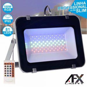 Foco LED 100W 220v C/Comando RGB IP65 AFXLIGHT - (LF100-RGB)