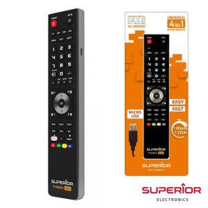 Comando TV Programável FREEDOM C/ USB - (FREEDOM-USB4:1BK)