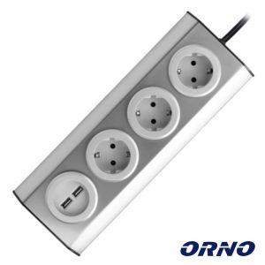 Tomada Elétrica C/ 3 Saídas E 2x USB P/ Secretária ORNO - (FS-4(GS))
