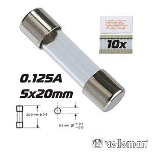 Fusível 5x20 Fusão Lenta 0.125a (10X) VELLEMAN - (FU0.125N)