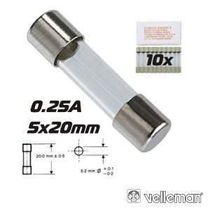 Fusível 5x20 Fusão Lenta 0.25a (10X) VELLEMAN - (FU0.25N)