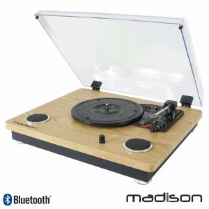 Gira-Discos 33/45/78RPM Retro BT/USB/SD/Rec Madison - (MAD-RT300SP-MKII)