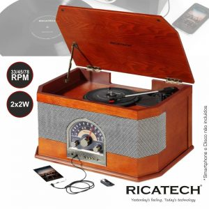 Gira-Discos 33/45/78RPM FM/AM/USB Ricatech - (RMC82)