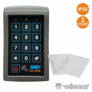 Leitor Controlo Acesso C/ Teclado E 2 Cartões Ip55 VELLEMAN - (HAA2866N)