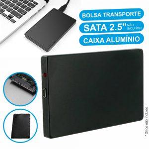 "Caixa Disco Rigido 2.5"" Sata C/ Mini USB 2.0 Preto Alumínio - (HDDCASE2.5A)"