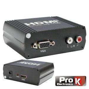 Conversor HDMI -> VGA C/ Áudio Amplificado PROK - (PK-HDMIVGA02)