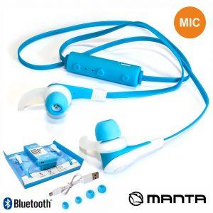 Auscultadores Bluetooth Stereo Mic Bat Azul MANTA - (HDP702BL)