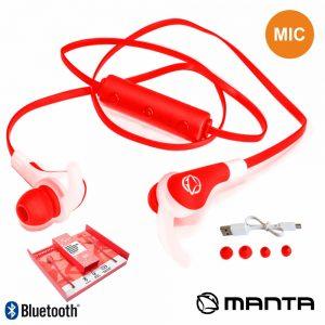 Auscultadores Bluetooth Stereo Mic Bat Vermelho MANTA - (HDP702RD)
